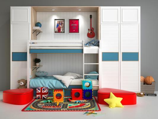 现代风格装饰柜,边柜,儿童床,衣柜。高低床