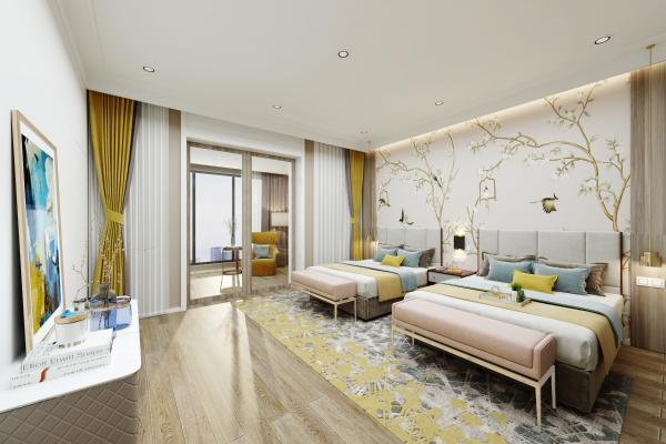 欧式简约酒店客房 手绘壁纸地毯装饰画窗帘