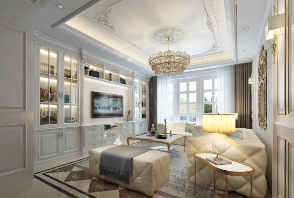 法式客厅 吊灯 沙发