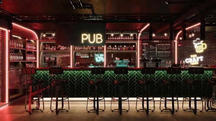 工业风酒吧 吧台