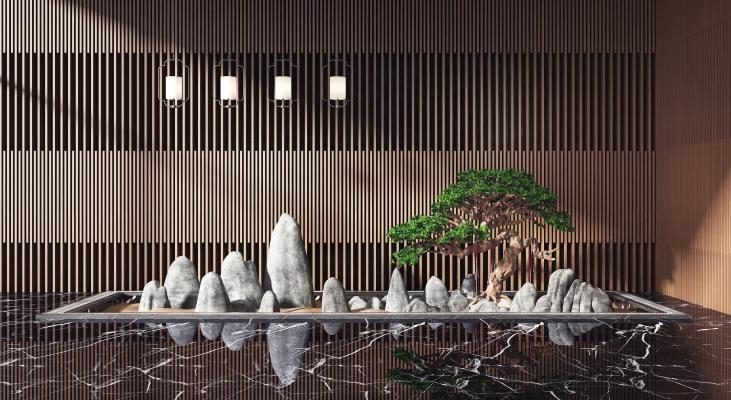 新中式旱景小品 松树 假山
