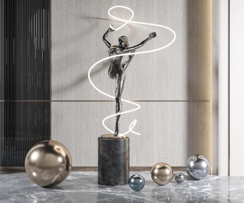 现代雕塑 人物雕塑 金属装饰品