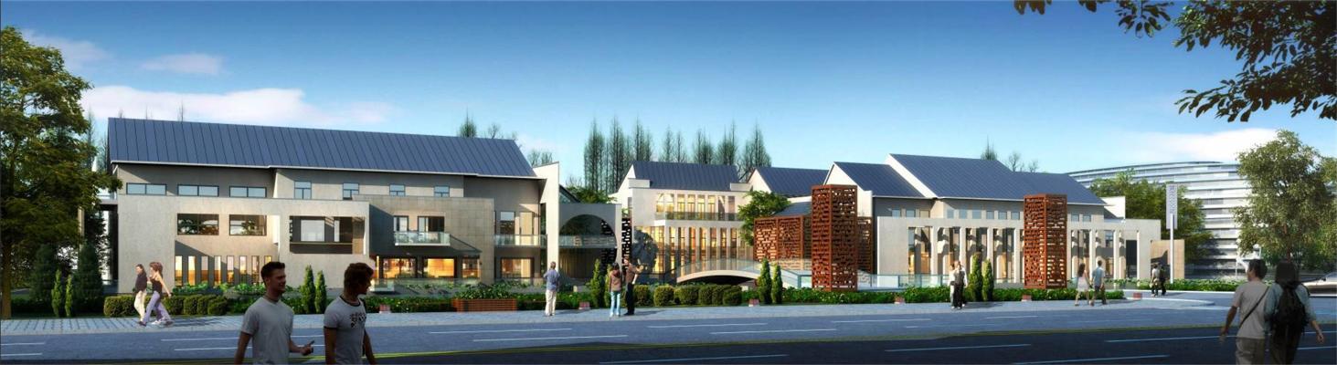 中式商业街 文化中心会所 建筑外观