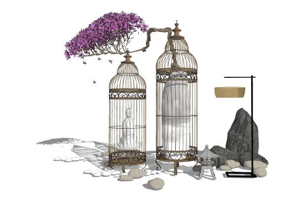 新中式装饰品 鸟笼装饰 花瓶 盆栽