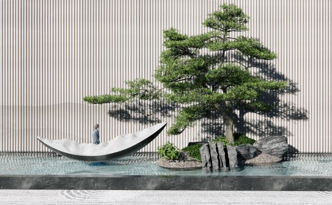 新中式假山水景景观小品 景观墙 雕塑松树水景