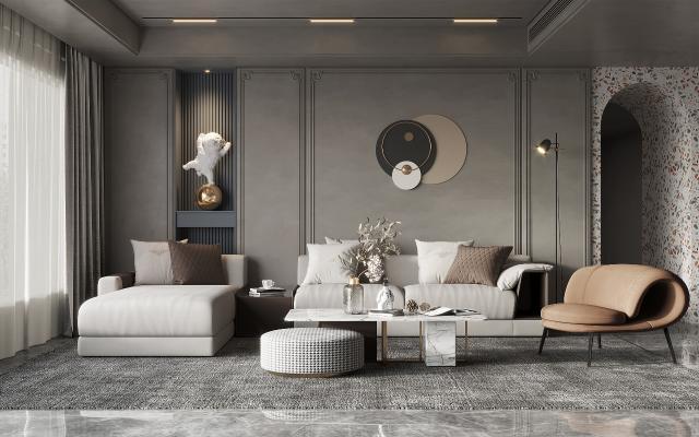 現代客廳 沙發茶幾組合 休閑椅