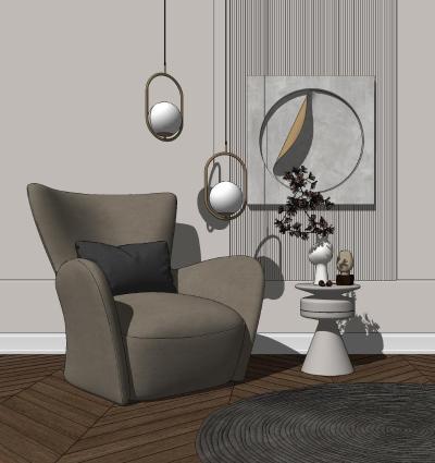 现代风格单人沙发 角几