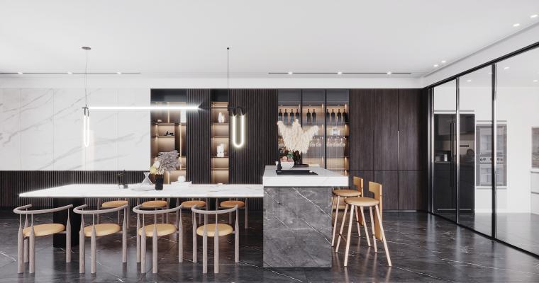 现代餐厅 厨房