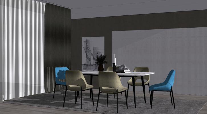 现代风格餐厅 餐桌组合 装饰品