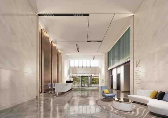 现代办公楼 大堂前台 前台 沙发