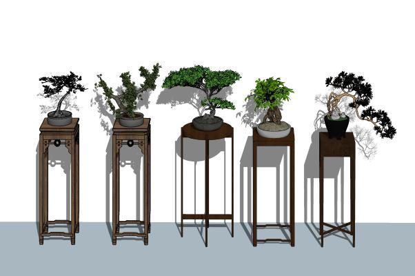 新中式花架 盆栽组合
