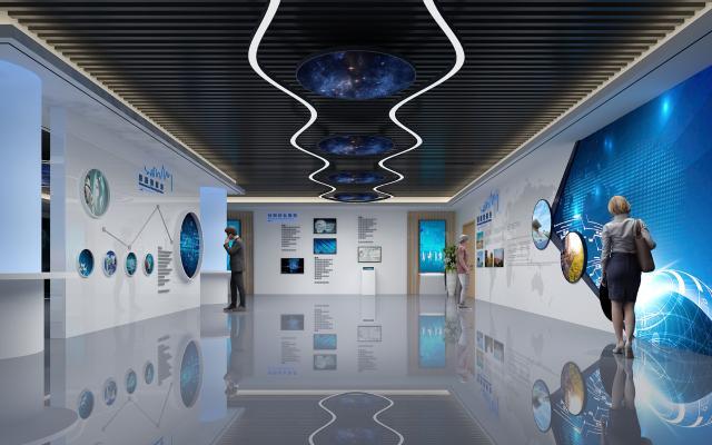 现代企业科技展厅形象墙