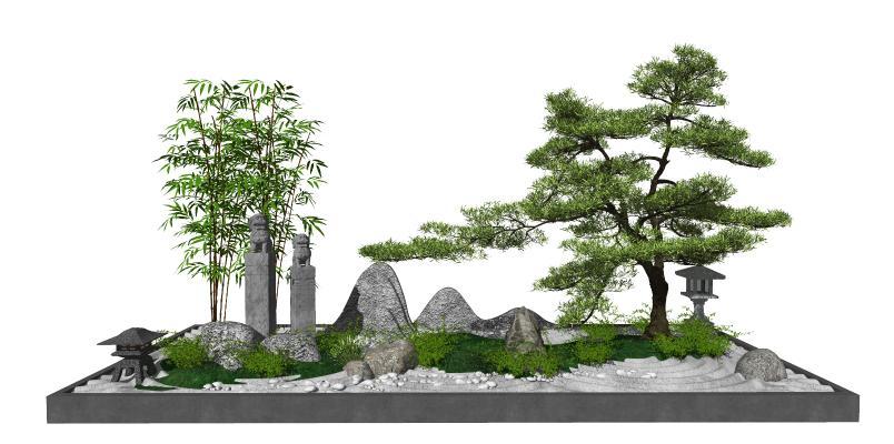 新中式庭院景观 树