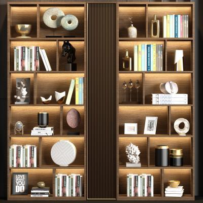 现代实木书柜 书籍 饰品组合
