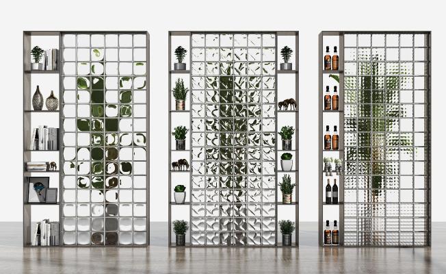 现代玻璃砖隔断 书架 酒架组合