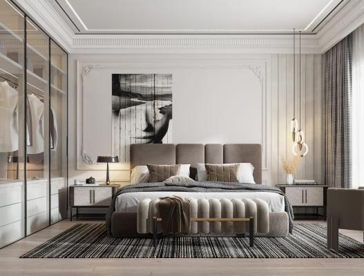 現代臥室 床品 床尾凳 床頭柜 吊燈