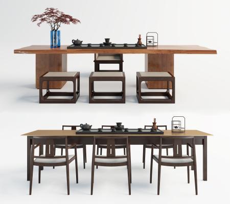 新中式茶桌①椅 休�e桌椅