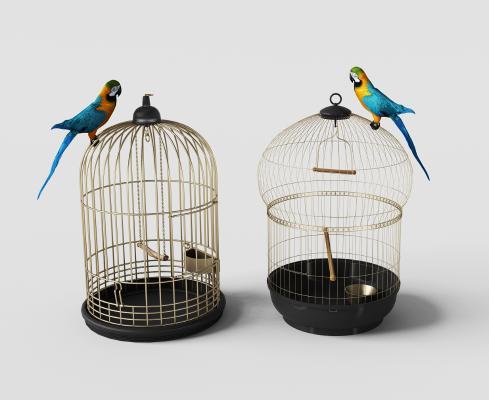 美式鸟笼装饰与鹦鹉摆件组合