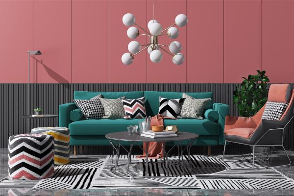 北欧布艺沙发茶几组合 艺术吊灯 休闲靠椅