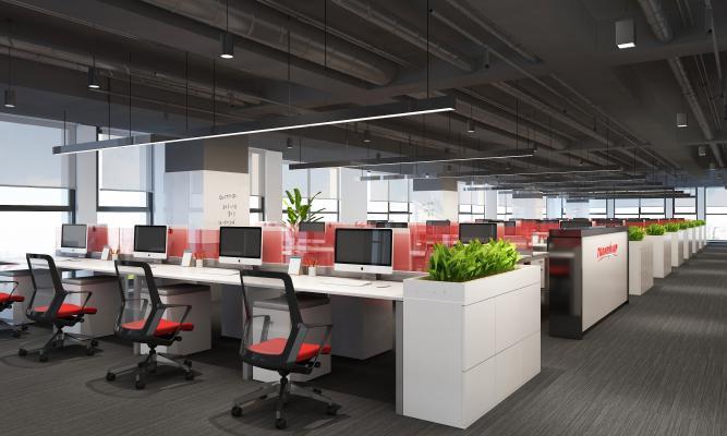 现代敞开式办公室 桌椅组合