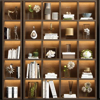 新中式实木书柜书籍饰品组合