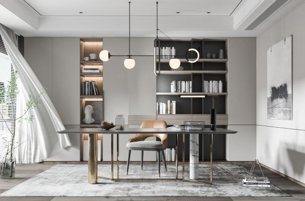 现代书房 多功能房 书桌椅