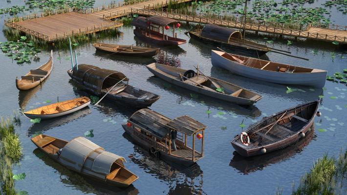 中式船 木头船 乌篷船