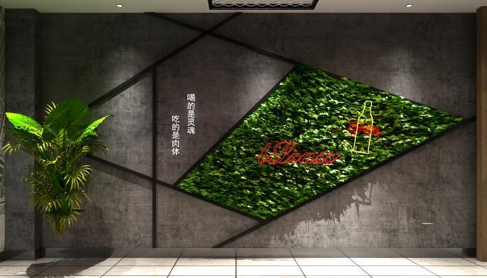 工业风造型墙包间背景墙