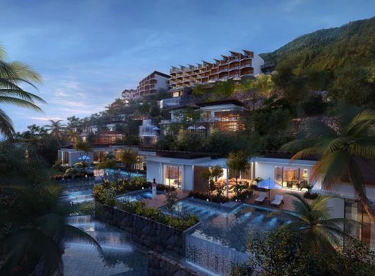 现代酒店别墅水景庭院