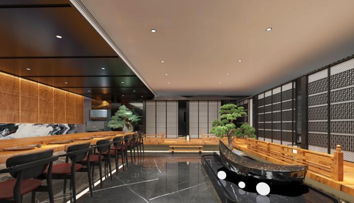 日式料理店 餐桌椅 绿植