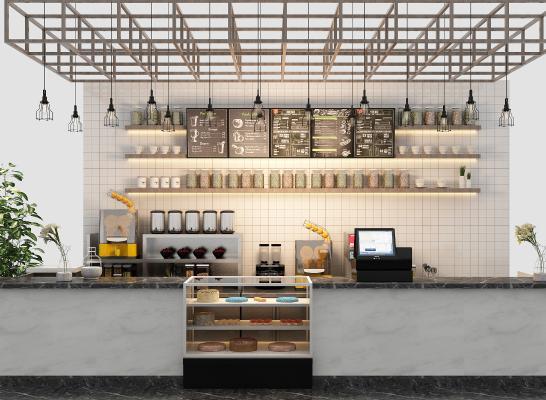 现代开放式厨房 水吧台 水吧设备组合