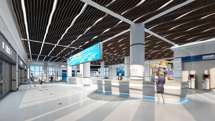 现代机场接待大厅 游客服务中心