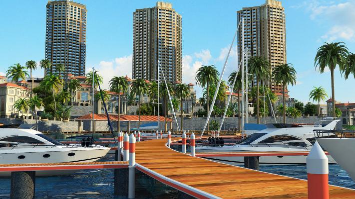 现代别墅外观 栈道 帆船