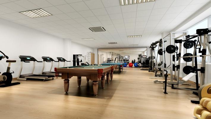 现代简约健身房 健身器材 卧推