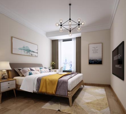 北欧卧室 床