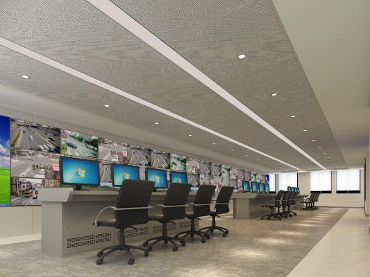 现代监控室安防中心