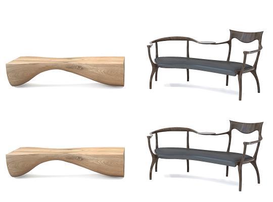 新中式異形長椅靠椅,木頭長條凳,