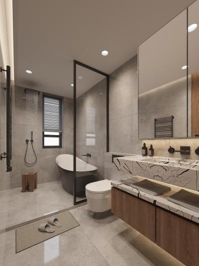 日式卫生间 马桶 浴缸 淋浴 洗手盆 镜柜