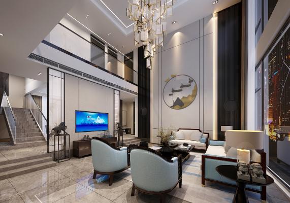 新中式别墅客厅 餐厅 茶室 中庭