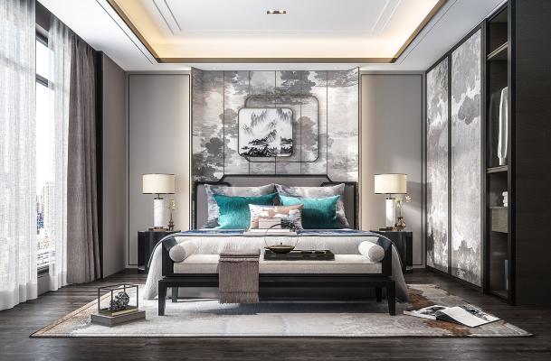 新中式卧室 床头背景墙 床具组合
