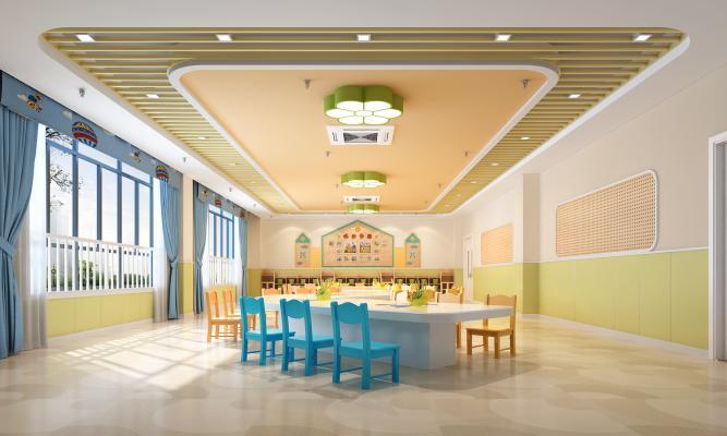 现代幼儿园美工室 洞洞板 地毯塑胶