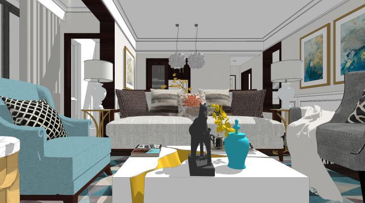 美式轻奢客厅 家具客厅 沙发组合