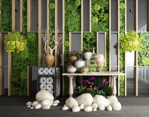 现代植物墙植物盆栽园林小品石头组合