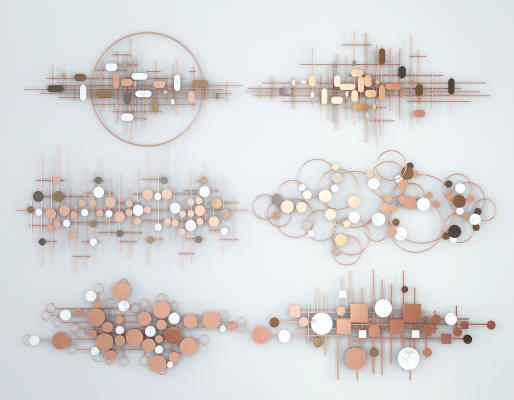 现代轻奢墙饰挂件 抽象创意艺术金属墙饰挂件 圆形条形墙饰挂件