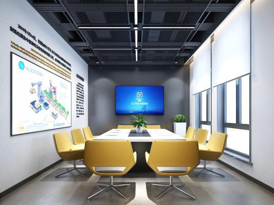 工业风会议室 会议桌椅 绿植
