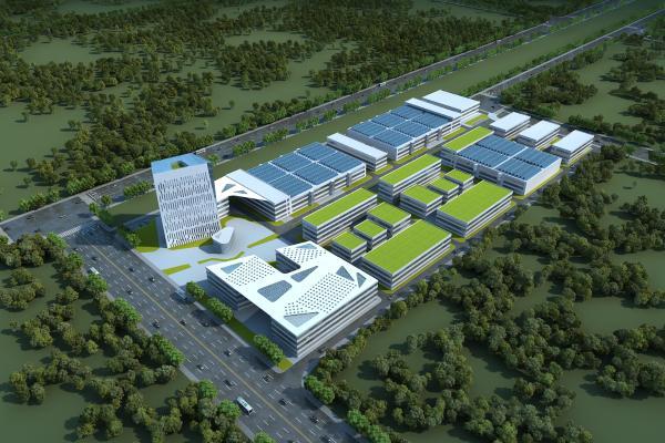 现代工业园区鸟瞰 厂房 工厂