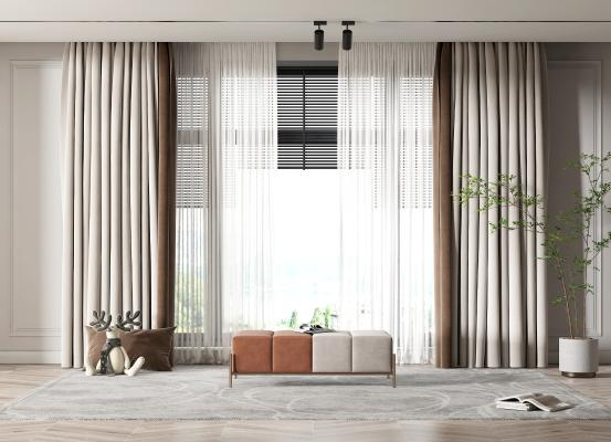 现代窗帘 摆件 沙发凳