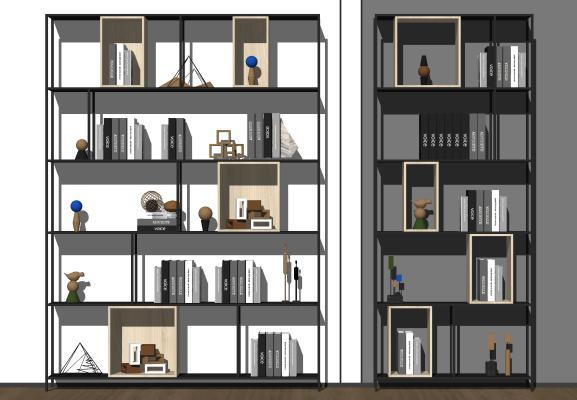 现代书架 装饰架 书籍 书本 饰品摆件