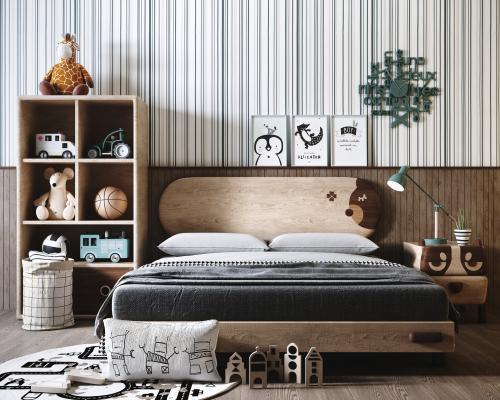 现代北欧儿童床 玩具装饰组合