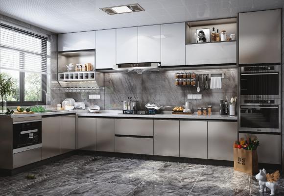 现代风格厨房橱柜 蒸烤箱 洗碗机